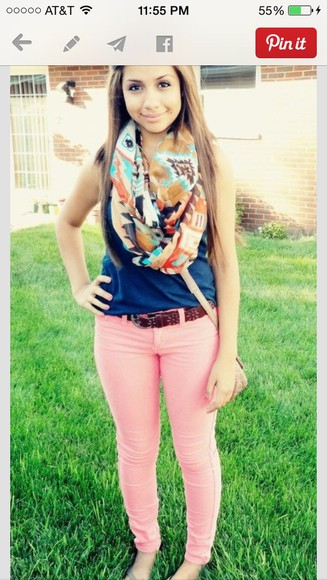 pants shirt pink pants scarf aztec scarf tribal scarf color pants pant blue shirt