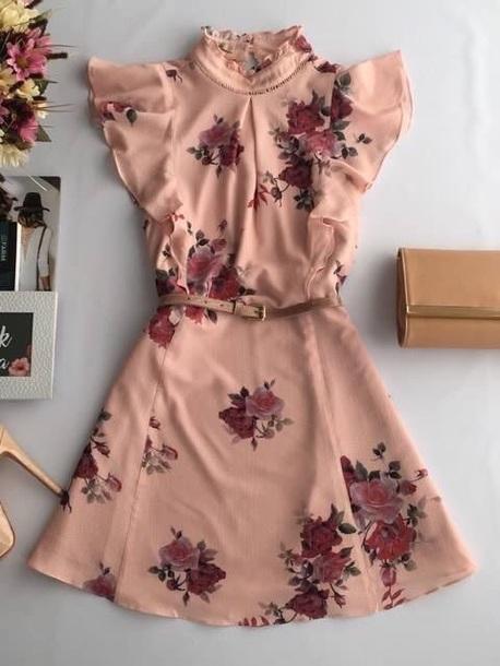 b832b4060f832 dress pink flowers belt outfit ootd floral floral dress summer summer dress  pink dress light pink