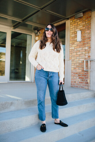 sequins and stripes blogger sweater jeans shoes bag sunglasses loafers winter outfits