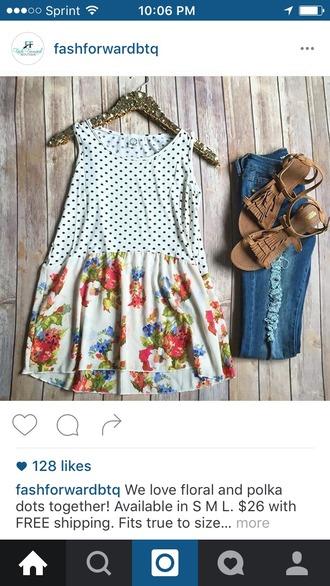 tank top clothes polka dots floral floral tank top boutique flowy