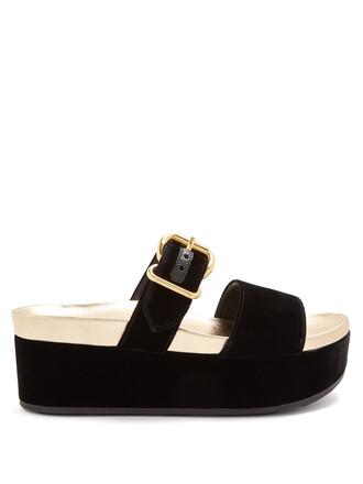 sandals flatform sandals velvet black shoes