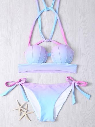 swimwear zaful cute dye tie dye girly fashion pastel bikini shell mermaid bikini top style beach trendy summer