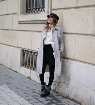 rebel attitude blogger coat sweater skirt shoes fisherman cap turtleneck sweater trench coat winter outfits winter boots