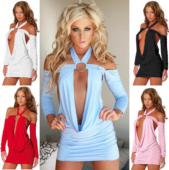 Free Shipping Adorable Candy Color Halter Mini dress Sexy Club Wear Long Sleeve Women's dresses 5 colors-in Dresses from Apparel & Accessories on Aliexpress.com
