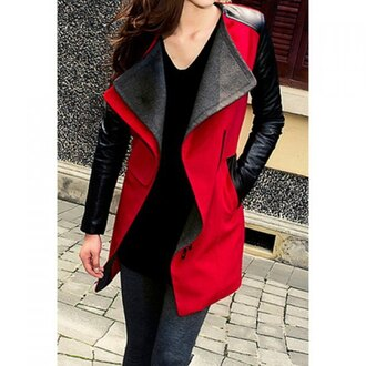coat black red leather style rose wholesale stylish asian streetwear
