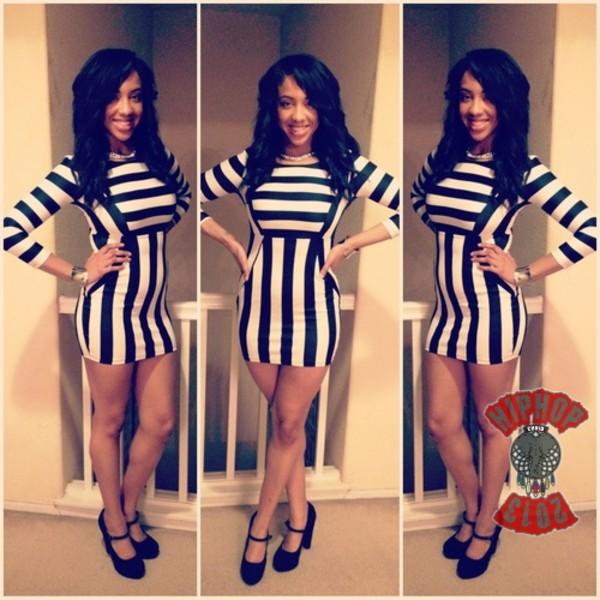dress stripes black white short mini