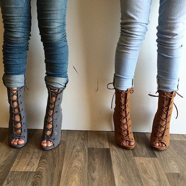Chestnut Faux Suede Double Lace Up Open Toe Booties @ Cicihot Heel