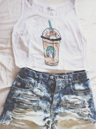 shirt tank top summer outfits shorts cute shirt starbucks coffee style denim shorts ripped shorts cross blonde hair orange shirt