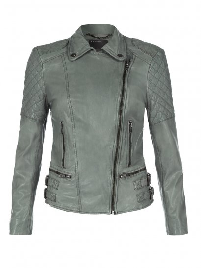 Muubaa Rokel Grey Green Leather Biker Jacket