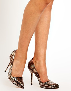 Dune | Dune Ammo Metallic Snake Print Heeled Court Shoes at ASOS
