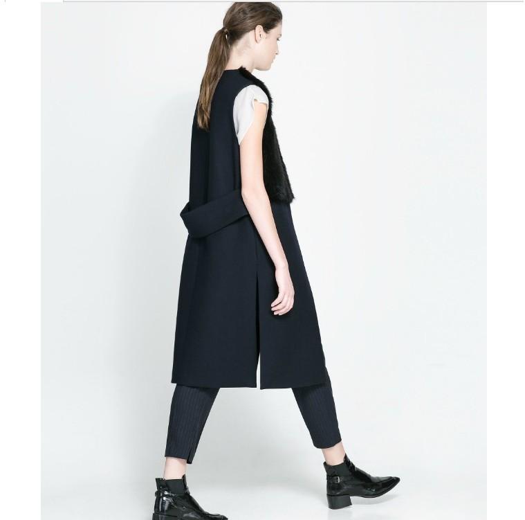 Mj38 New Fashion Womens Faux Fur Spliced Woolen Vest Coat