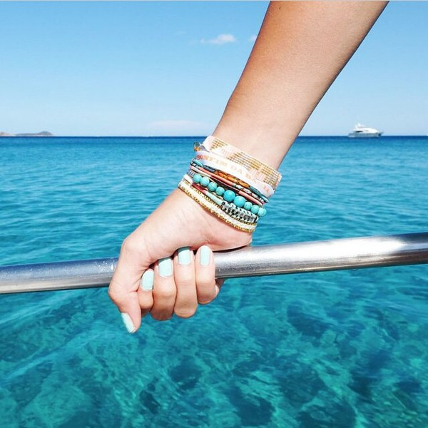 jewels hipanema bracelets blue blue jewelry summer