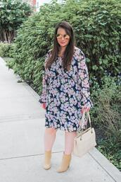 currentlycoveting,blogger,dress,jewels,sunglasses,shoes,bag,ankle boots,floral dress,fall outfits