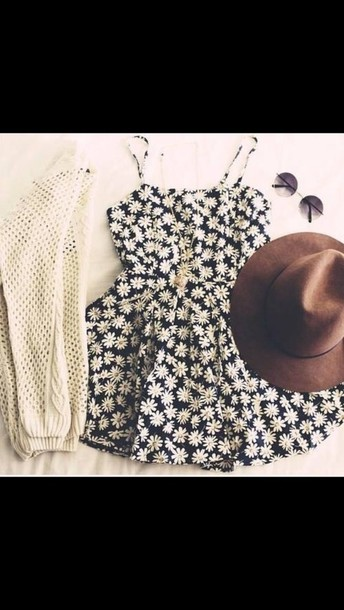 dress fashion style floral dress dress sweater