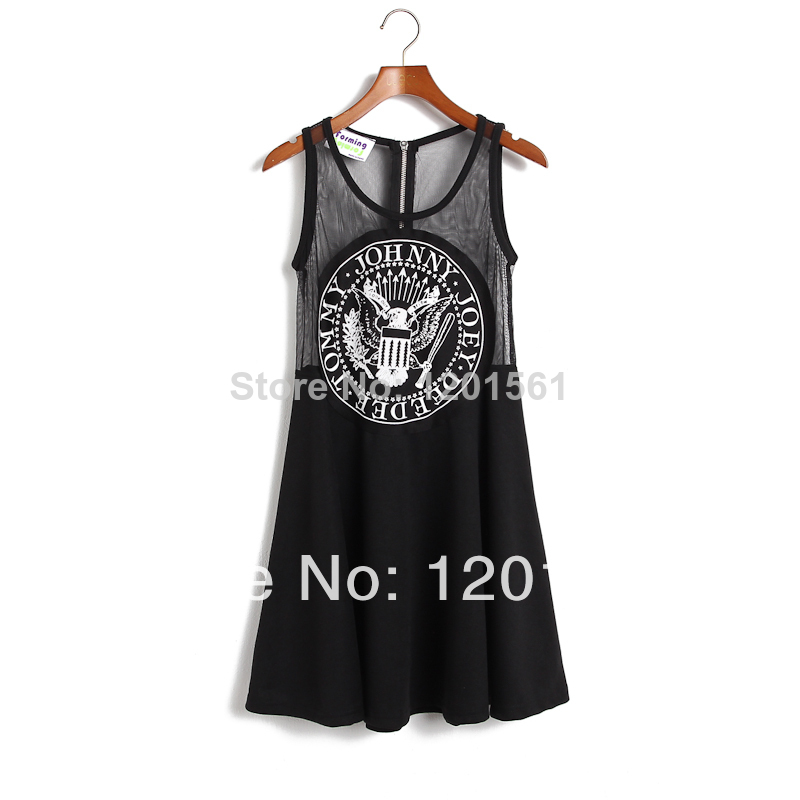 Aliexpress.com : buy topstyle ly8047 new 2014 summer women punk ramones letter print dress sexy black mesh sheer sleeveless casual party dresses from reliable dresses celebrities suppliers on topstyle