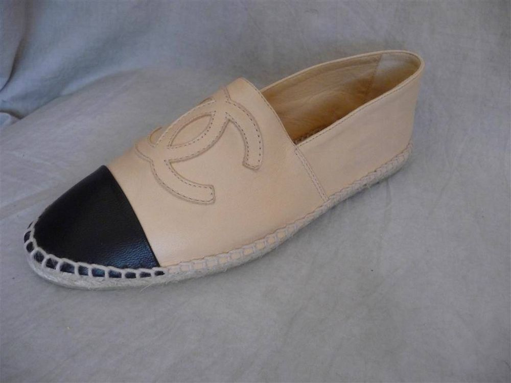 14c Chanel Beige Black Toe Leather Espadrilles Flats Shoes US 4 to US 12 | eBay