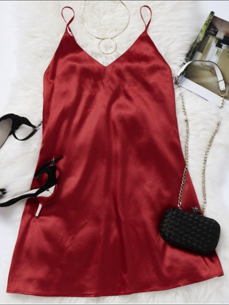 dress girly red red dress silk silk dress slip dress