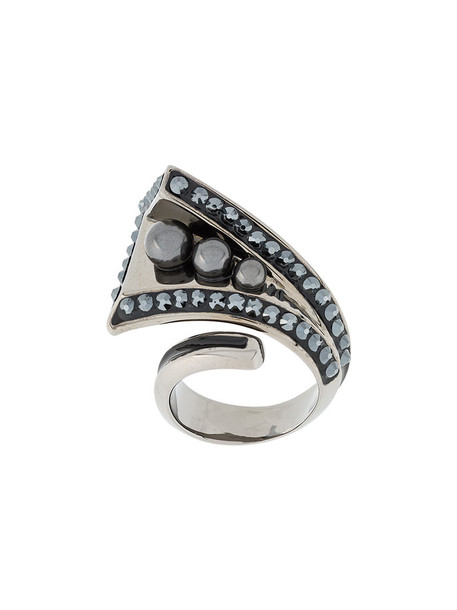Atelier Swarovski women pearl triple ring grey metallic jewels