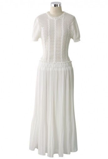 Pearly Knitted Pleated Chiffon Maxi Dress in White - Retro, Indie and Unique Fashion