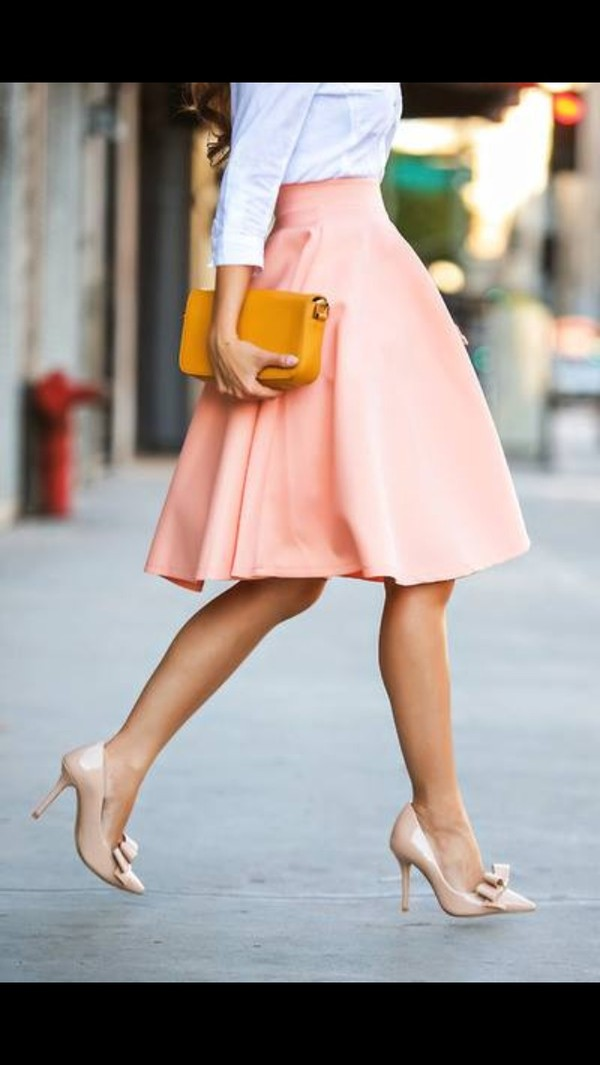 skirt long skirt aline skirt pink skirt white blouse high heels high waisted skirt