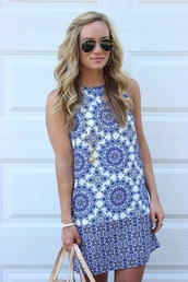 jewels,dress,print,shift,spring,blue and white