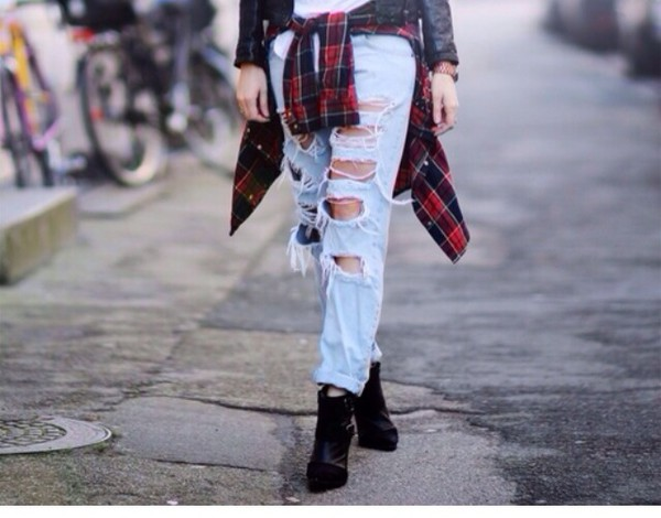 jeans ripped jeans high waisted boyfriend jeans indie dope plaid grunge instagram blouse 90s style