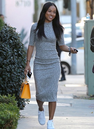 dress bodycon dress karrueche midi dress knitwear sneakers spring spring outfits grey dress grey