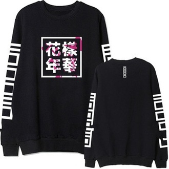 sweater black black and white fashion style trendy long sleeves k-pop fall outfits musheng