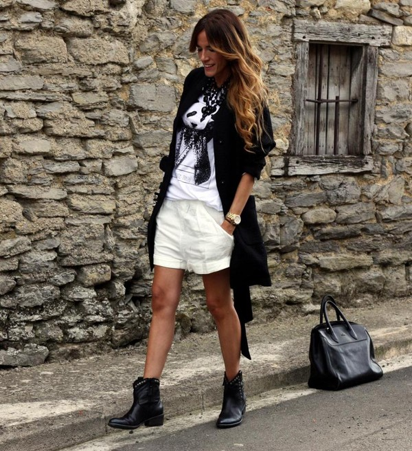 rebel attitude coat t-shirt shorts bag jewels shoes
