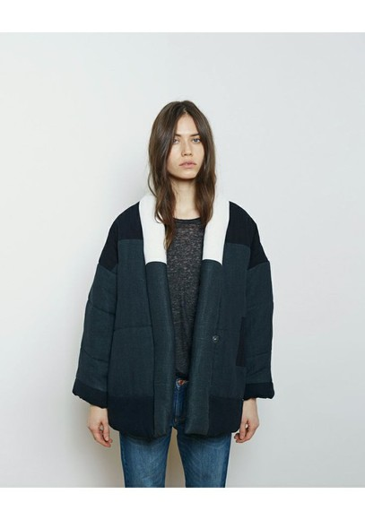 isabel marant coat jacket padded blue jacket