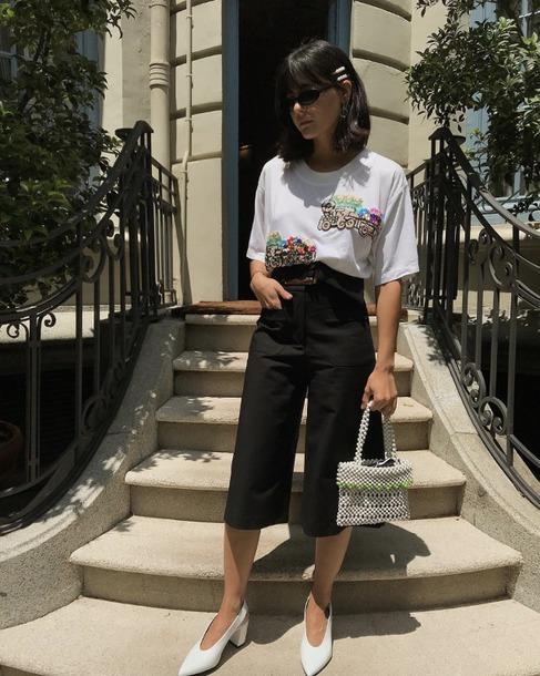 pants black pants mules white mules top shoes bag handbag