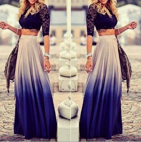 Blue ombre maxi skirt