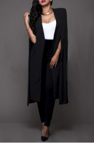 coat girl girly girly wishlist black cape cape blazer