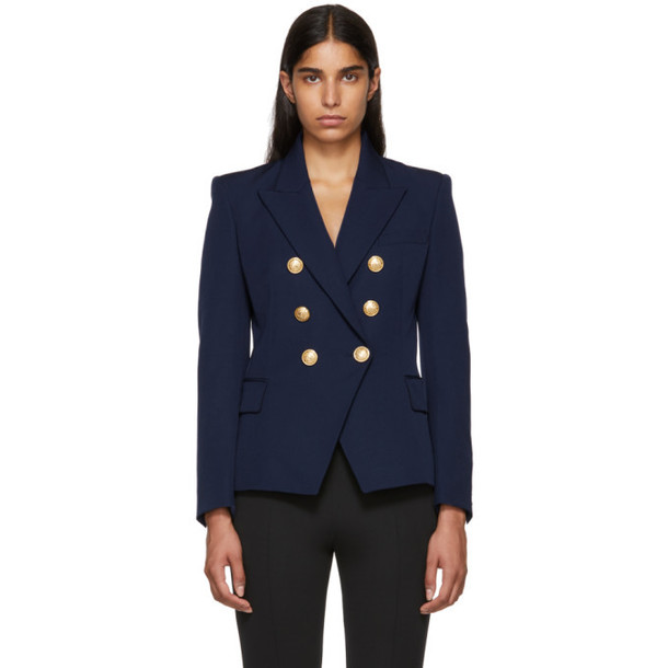 Balmain Navy Six-Button Blazer