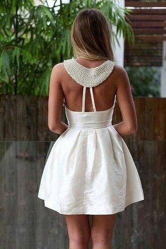 dress white pearl bride prom party dress white dress open back open back dresses clothes coat cute dress summer dress mini dress crochet glitter dress short dress