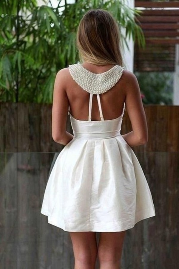 dress white pearl bride prom pearl party dress white dress open back open back dresses dress clothes coat cute dress summer dress mini dress white dress crochet glitter dress short dress