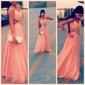 dress,maxi,cut,salmon,peach dress,prom dress,pink,pink dress,long prom dress,beautiful,long dress,peach; long,peach,coral,maxi dress,clutch,silver,fashion,trendy,coral dress,embelished dress,embellished,chiffon skirt,flower embelishment,pink maxi dress,long formal dress,wedding dress,open back dresses,backless dress,sexy dress,princess dress,amazing dress,classy,stylish,jewels,formal,open back,clever,semi formal,designer,any colour #dress #openback #pretty #formal,corail,girl,orange dress,open sides,light pink dress