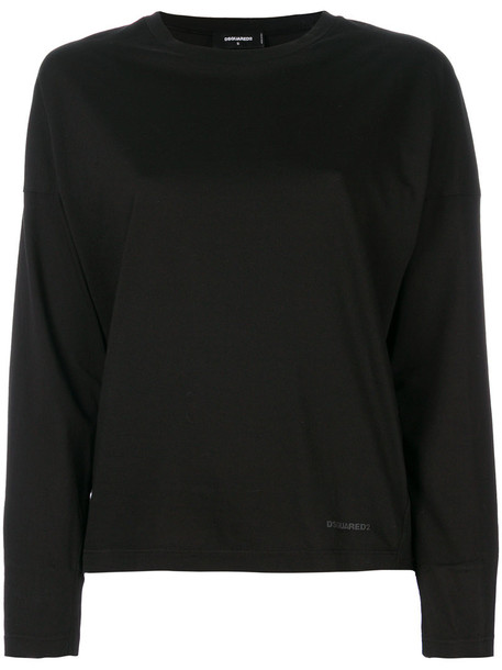 Dsquared2 - long sleeved top - women - Cotton - XXS, Black, Cotton
