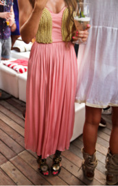 dress,pink,Pin up,pink and gold,pink and gold chain,gold,gold dress,long dress,pink dress,long pink dress,sexy party dresses,maxi dress,cute dress,summer dress,beach,beach dress,senior prom,grad,homecoming,long