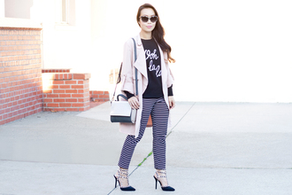 it's not her it's me blogger bag sunglasses stripes studded shoes