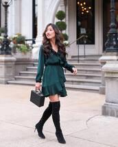 dress,mini dress,wrap dress,ruffle dress,handbag,over the knee,black boots