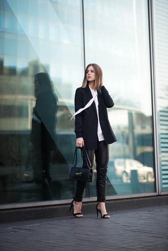 take aim blogger jacket pants shoes blouse bag loewe bag black bag black blazer blazer shirt white shirt black leather pants leather pants black pants sandals sandal heels high heel sandals black sandals fall outfits