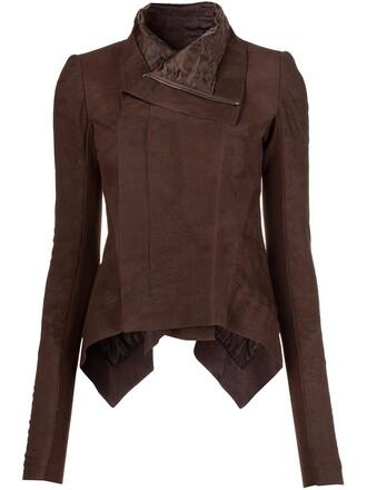 jacket biker jacket high high low brown