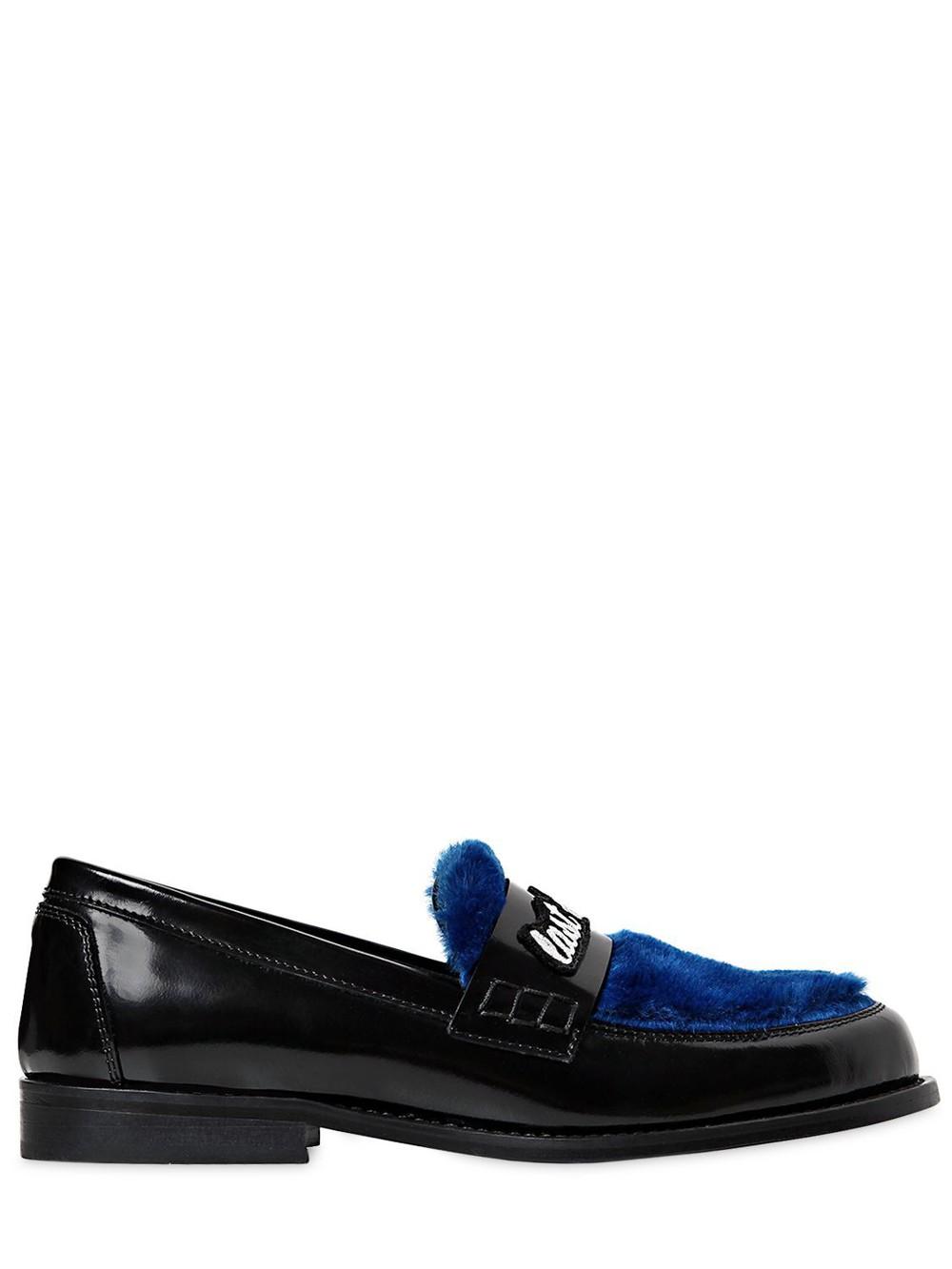JOSHUA SANDERS 20mm Last Dance Leather Loafers in black / blue