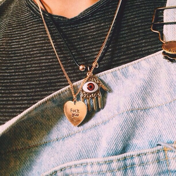 jewels tumblr eye heart illuminati necklace hippie indie cute boho grunge hand grunge alternative jewelery indie indie rock gold jewelry