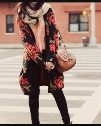 cardigan wool fashion floral shorts black black jeans cute warm seethrough underwear sweater