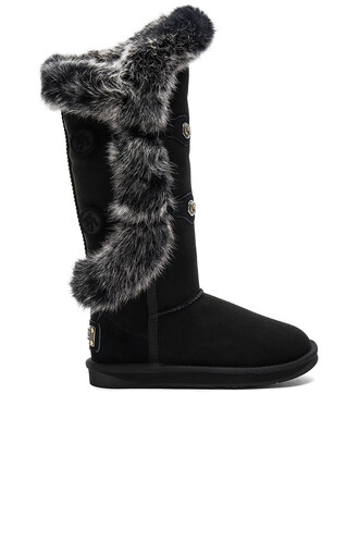 boot fur angel black shoes