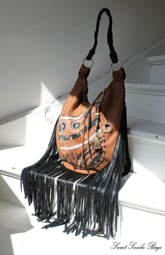 bag african bag african american ethnical southwestern aztec leather fringed leather fringe