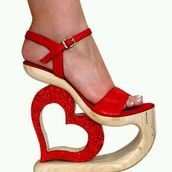 shoes,karo shoes,handmade shoes,exotic shoes,unique shoes,red leather shoes,wood shoes,platform shoes,high heels,heart heel shoes