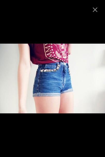 shirt ramones t-shirt top shorts denim studded shorts